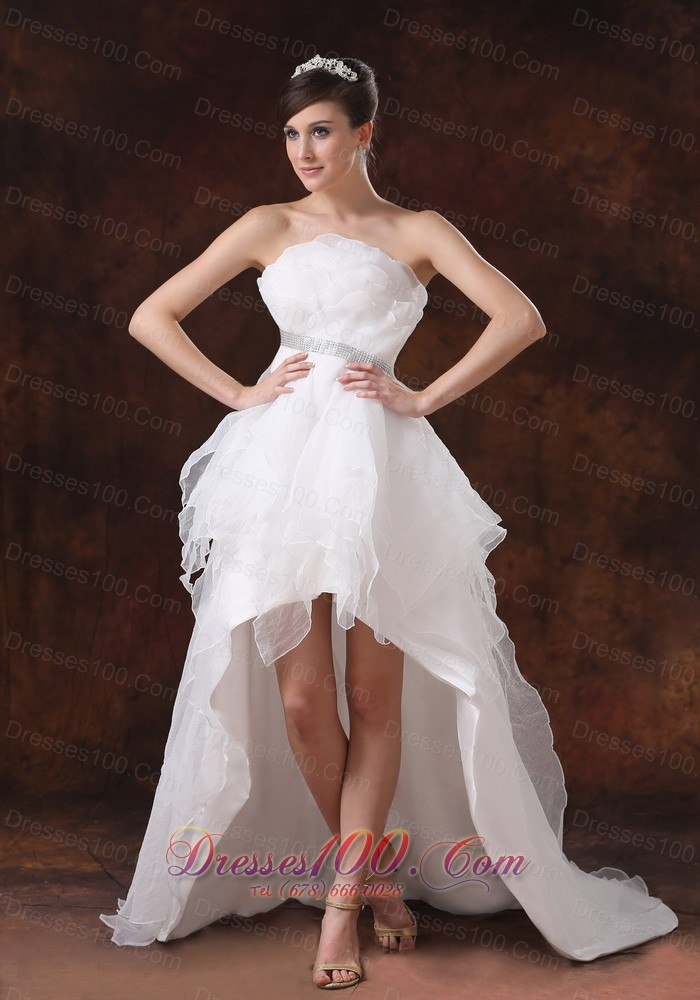 Beaded unique strapless organza high low wedding dress for Beaded short wedding dress