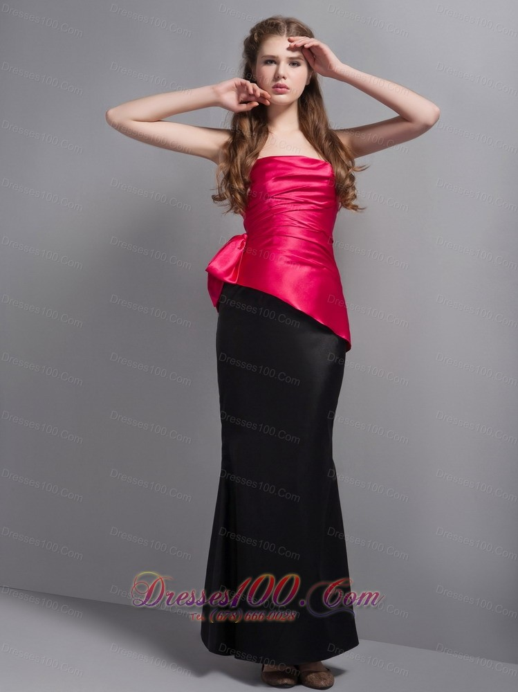 hot pink and black bridesmaid dress anklelength us13858