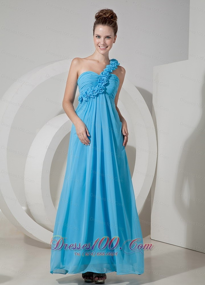 Aqua blue hand flowers one shoulder bridesmaid dress us for Aqua blue dress for wedding