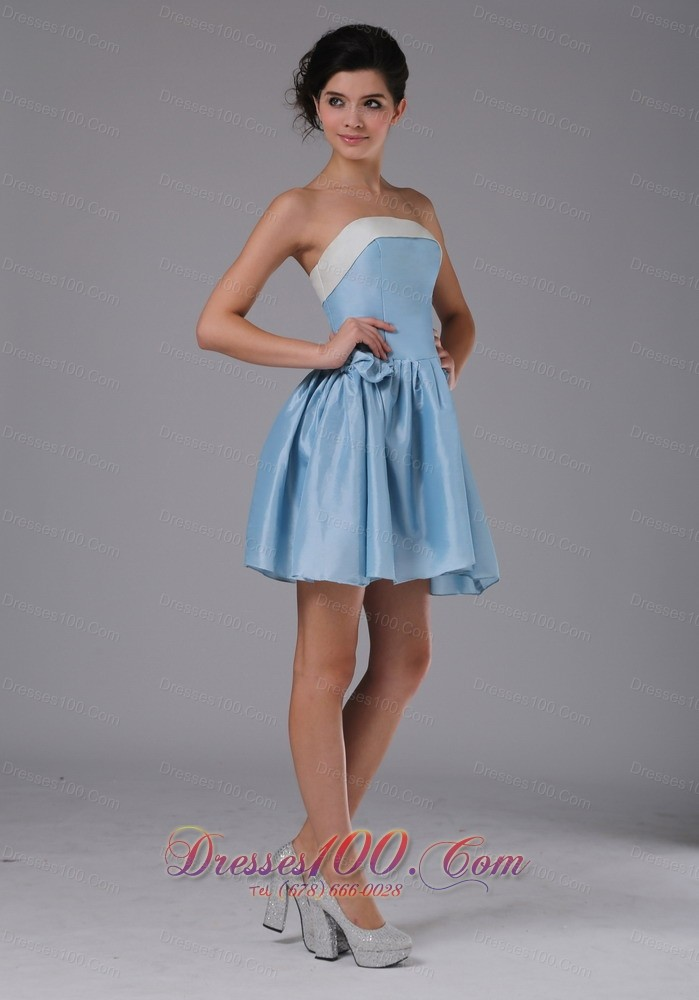 Colorful strapless light blue short party homecoming dress for Short light blue wedding dress