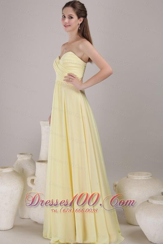 Light yellow empire maxi dress for bridesmaids sweetheart for Yellow maxi dress for wedding