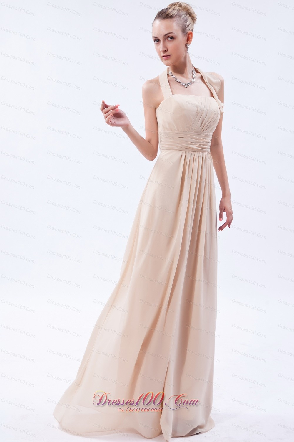 Linen custom color empire halter bridesmaid dress ruch for Halter wedding dresses with color