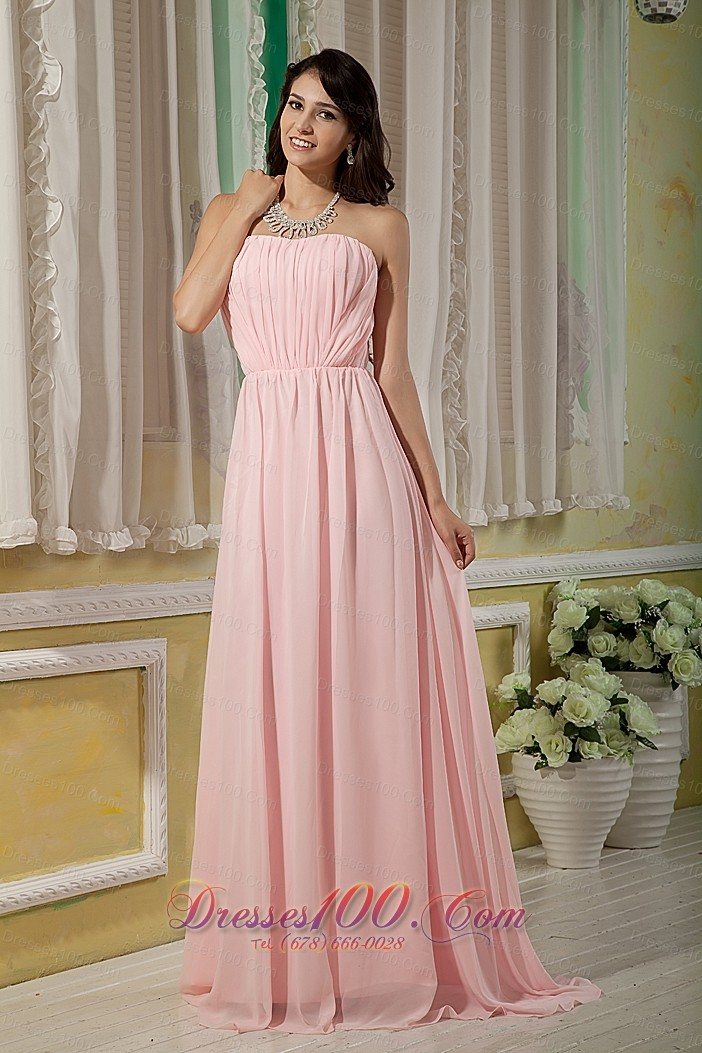 Baby Pink Bridesmaid Maxi Dress Empire Ruching BrushBaby Pink And Black Bridesmaid Dresses
