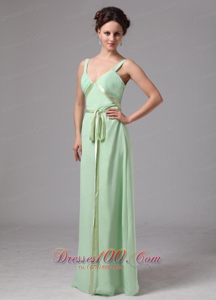 Apple green sash straps prom dress for wedding guests us for Apple green dress for wedding
