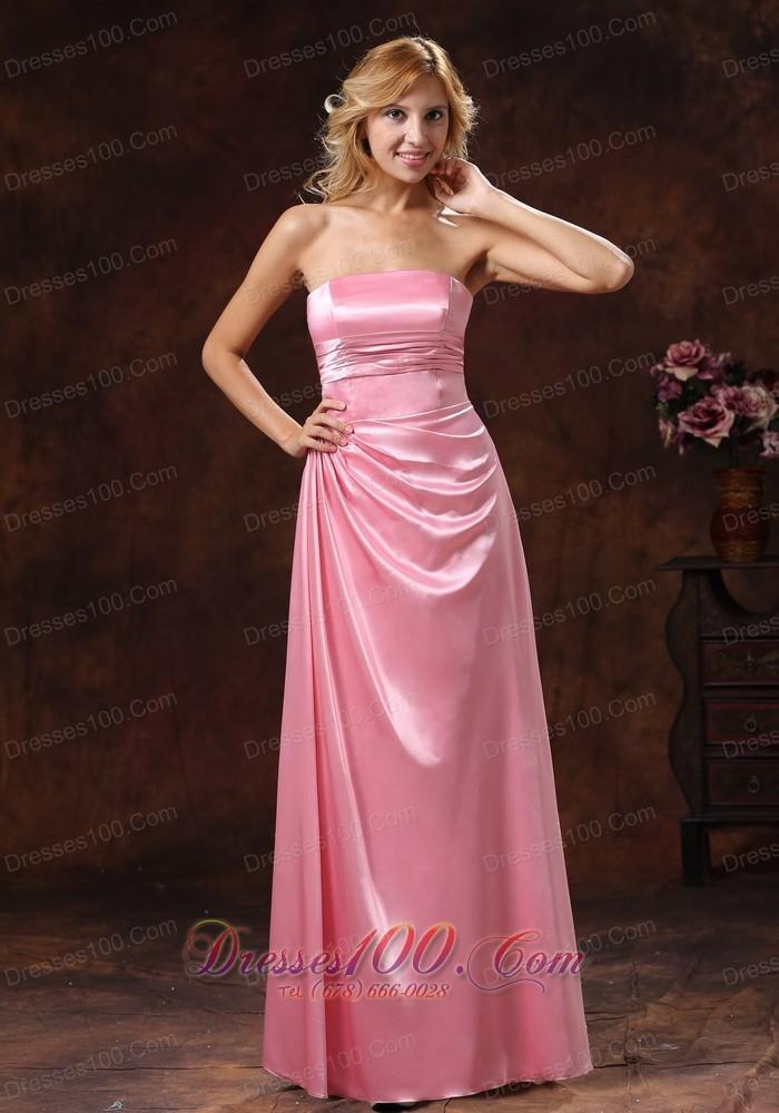 Side gather rose pink bridesmaid dress strapless us Rose pink wedding dress