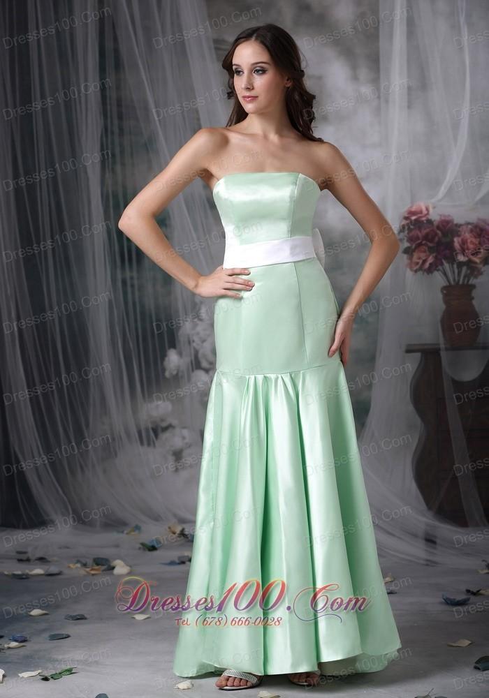 Apple green formal evening dress column brush train sash for Apple green dress for wedding