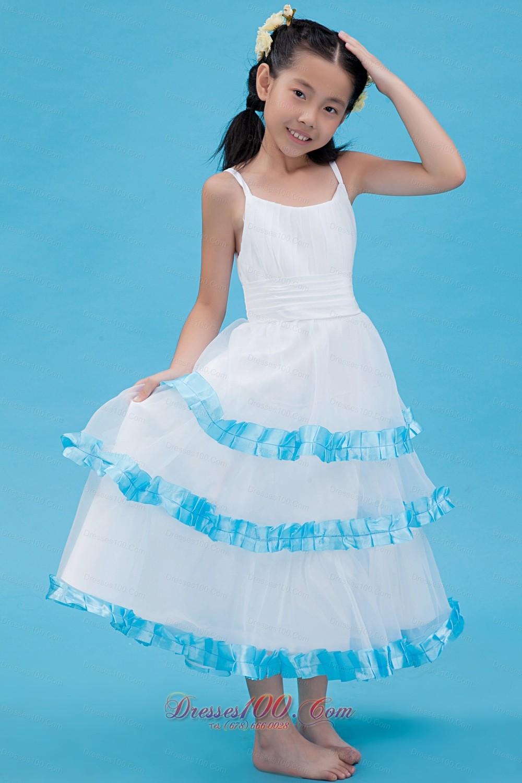 Spaghetti summer little girl dress with blue trim us for White wedding dress with blue trim