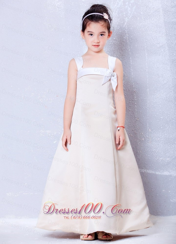 Little Girls Formal Dresses Champagne Square Bows Ankle Length Us