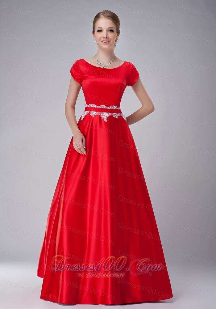 Red a line scoop mother in law dresses taffeta us for Mother in law wedding dresses