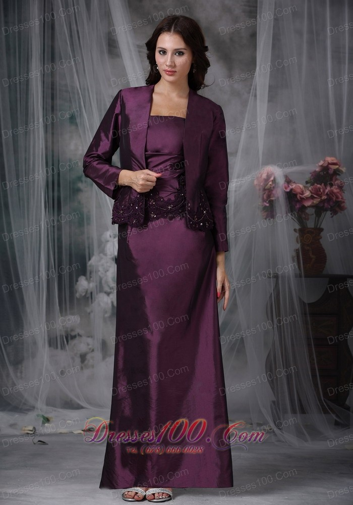 Dark Purple Ankle-length Taffeta Mother In Law Dresses ...