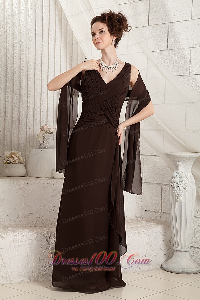 Brown v neck ruched chiffon mother in law dress us for Mother in law wedding dresses