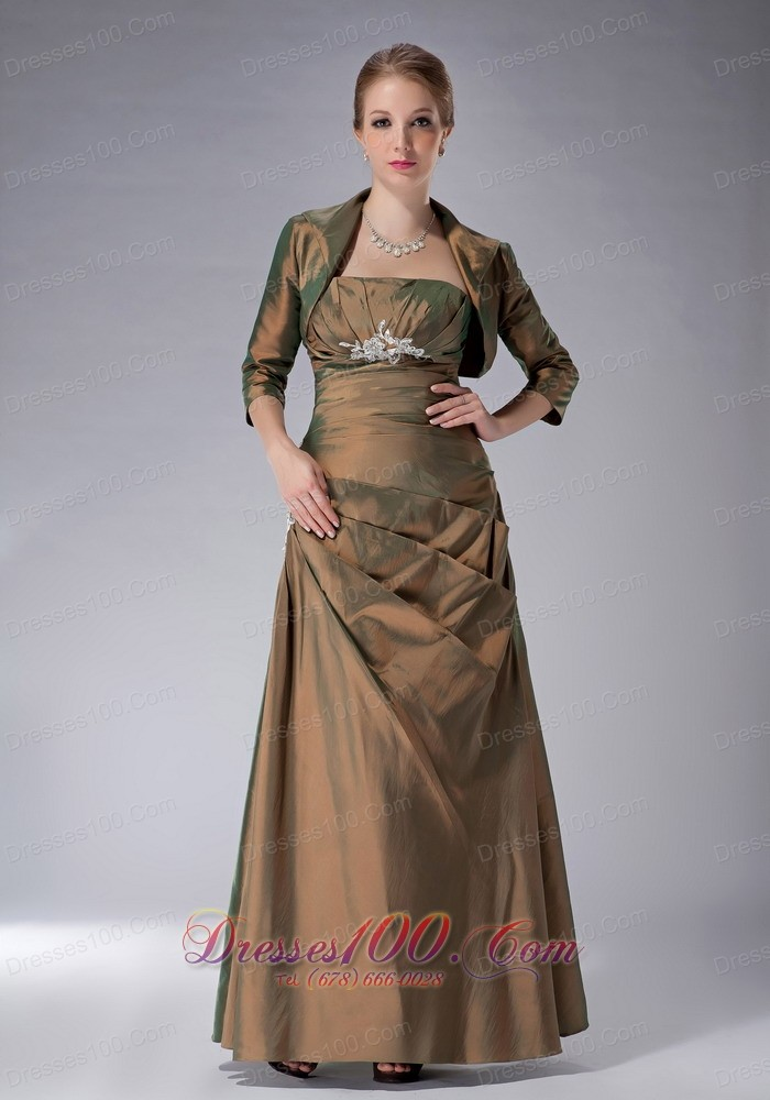 Ankle length two tone color mother in law dress us for Mother in law wedding dresses