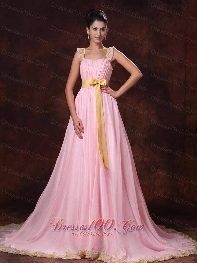 Pink Court Train Appliques Bowknot Prom Dress - US$145.23