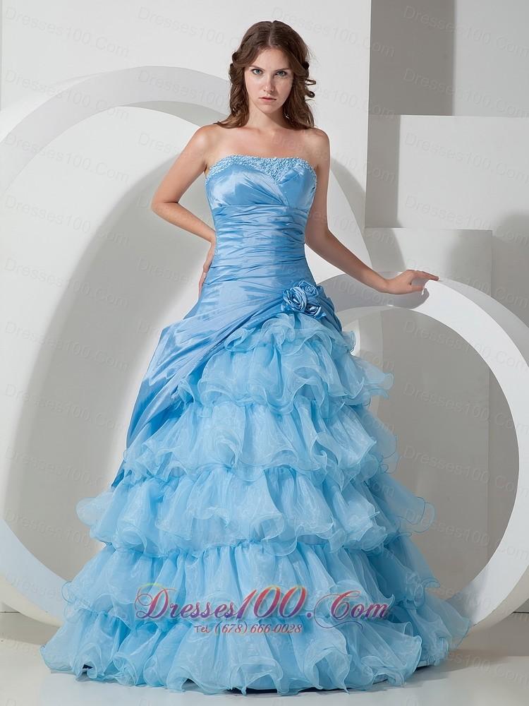 Baby Blue Organza layered Ruffles Prom Dress US$169 78