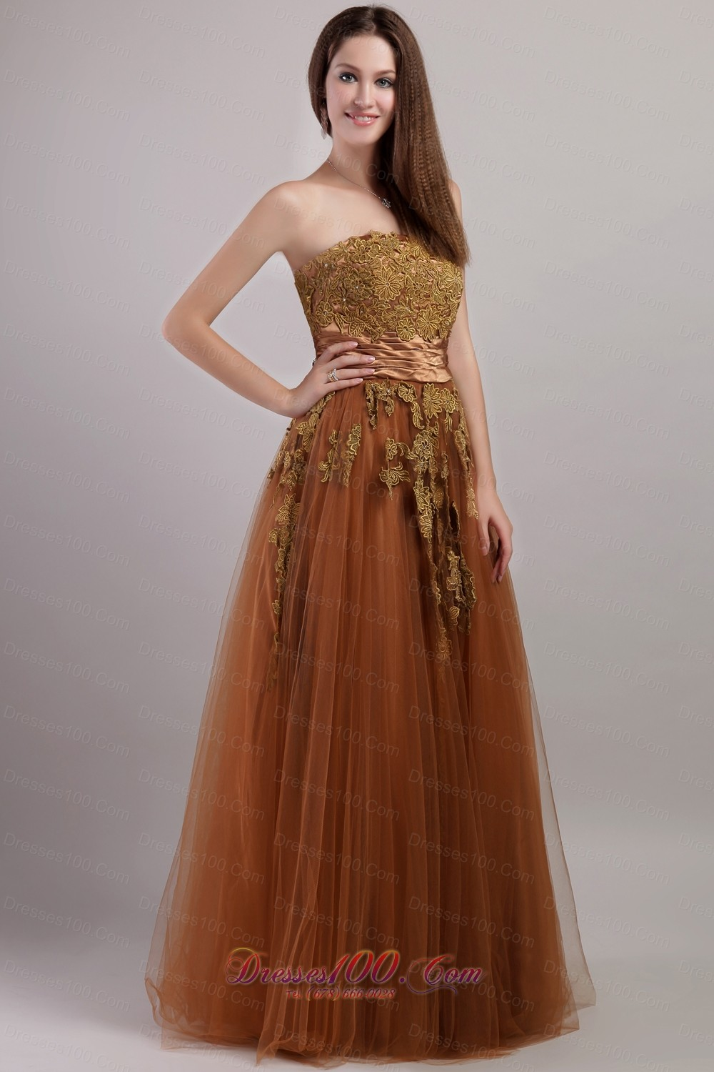 Rust Red Empire Tulle Floral Appliques Prom Dress - US$155.69