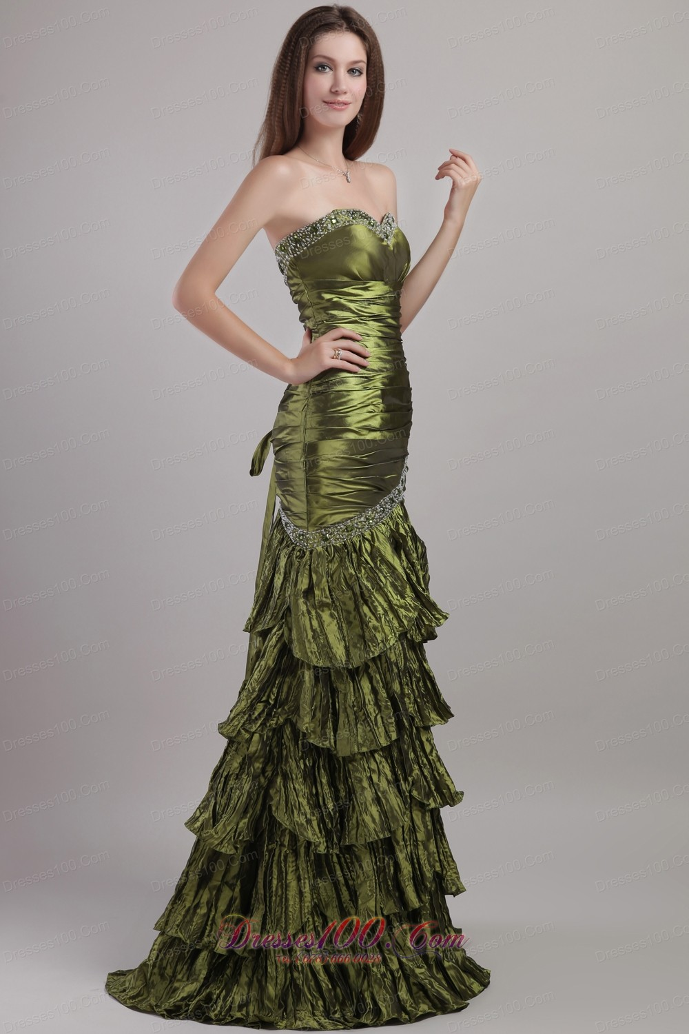 Olive green prom bridesmaid dress column beading us for Olive green wedding dresses