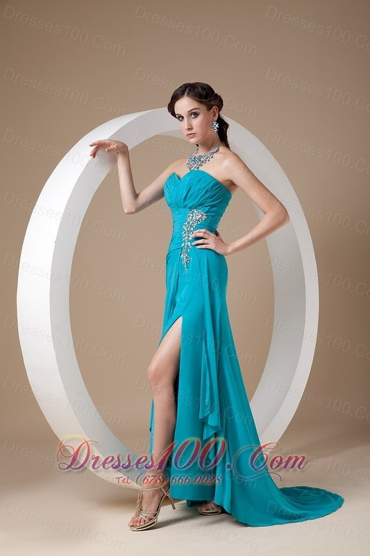 discount teal prom dress 2013 column sweetheart us13789