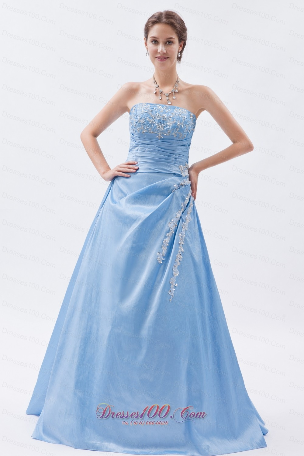 Baby Blue Appliques Prom Dress Sheath Cheap US$133 23