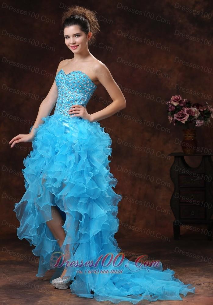 Hi Lo Blue For Sassy Prom Dress Beaded And Ruffles Us 134 59