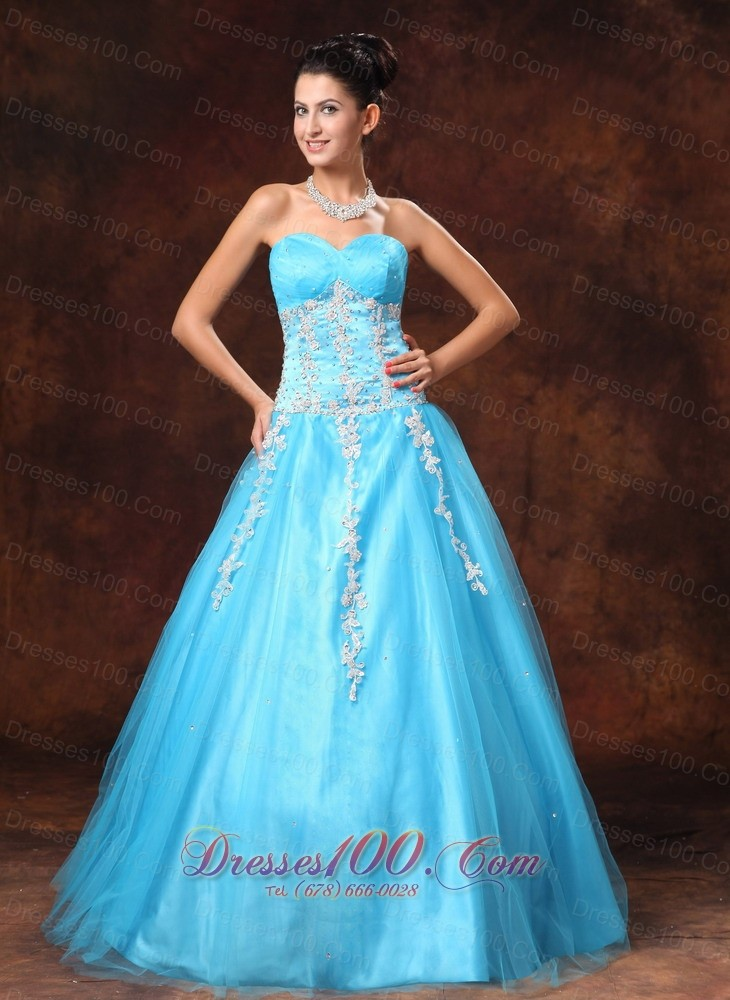 baby blue applique beads prom gown 2014 sweetheart us14687