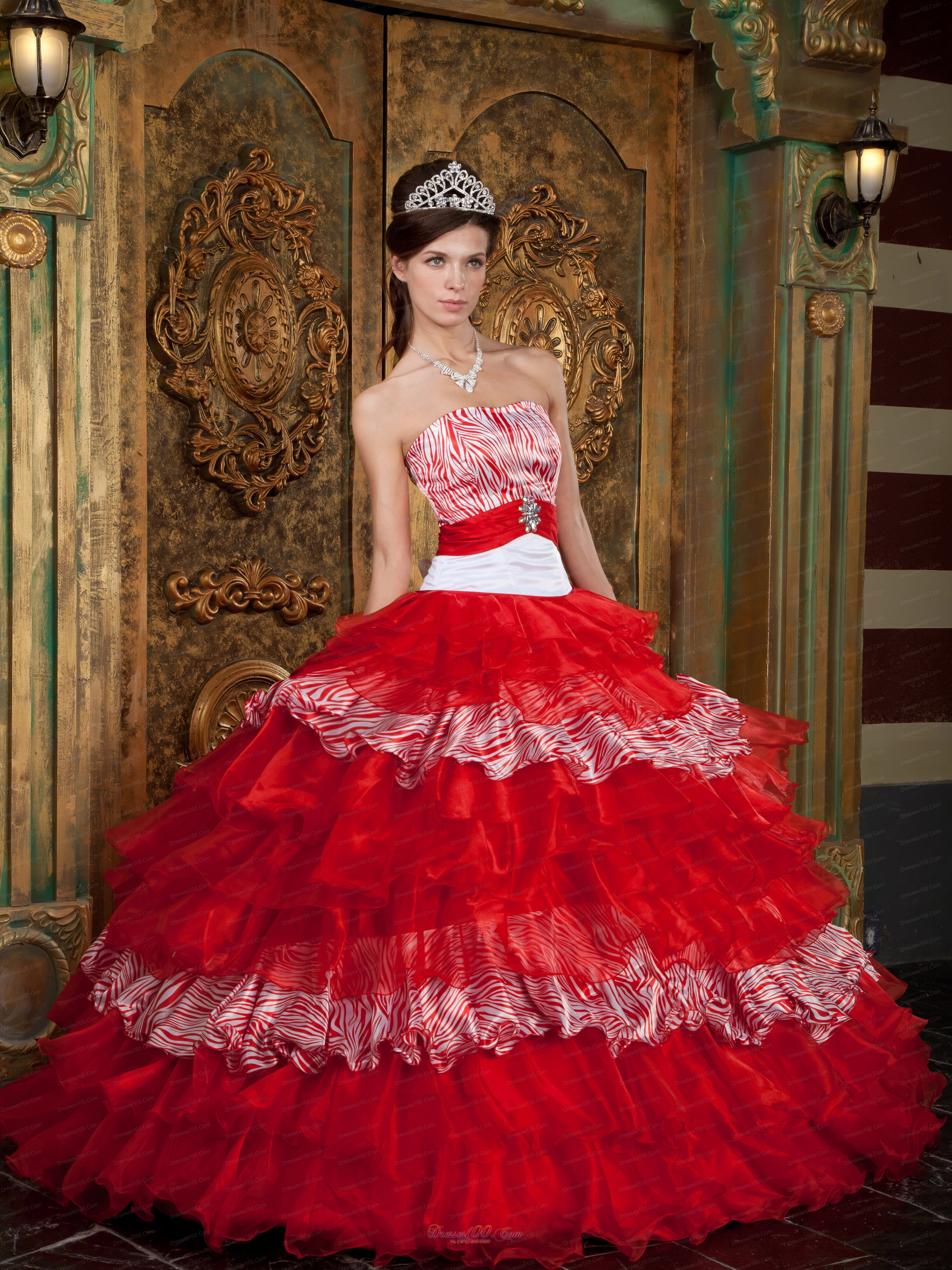 Red And Zebra Print Ball Gown Quinceanera Dress Layer Us