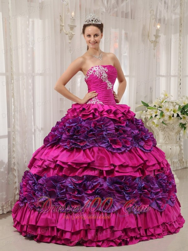Fuchsia Quinceanera Dress Strapless Embroidery High ...
