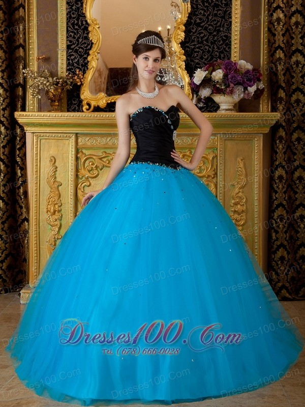 Teal Quinceanera Dresses 2013 Sweetheart Black and T...