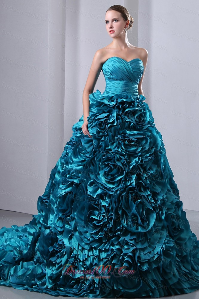 Teal Quinceanera Dresses 2013 2013 Teal Ruch Hand Fl...