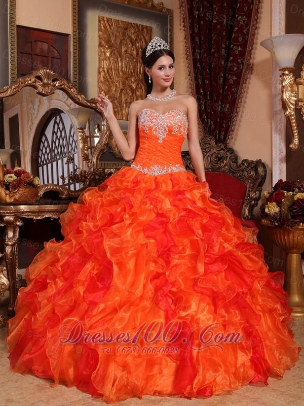 c2278214c33 Discount Orange Quinceanera Dress Appliques Beading Ruffles - US 212.69