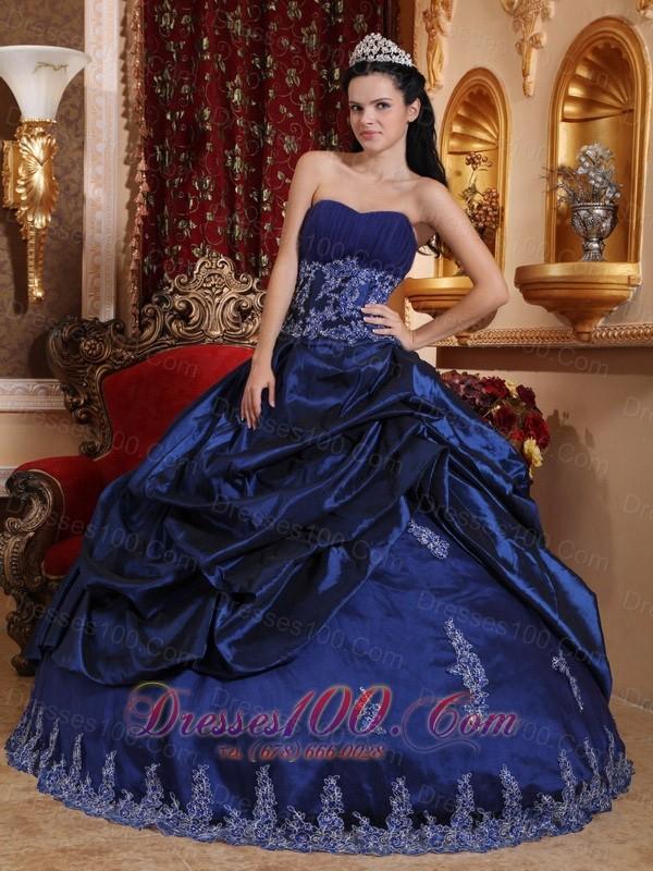 Navy Blue Quinceanera Dress Appliques Sweetheart Floor