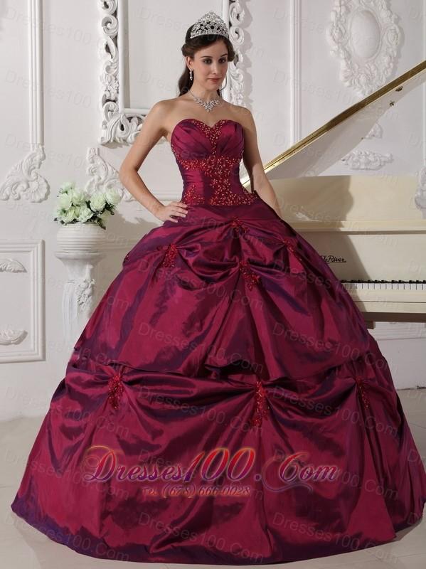 burgundy quinceanera dress appilques sweetheart us18589
