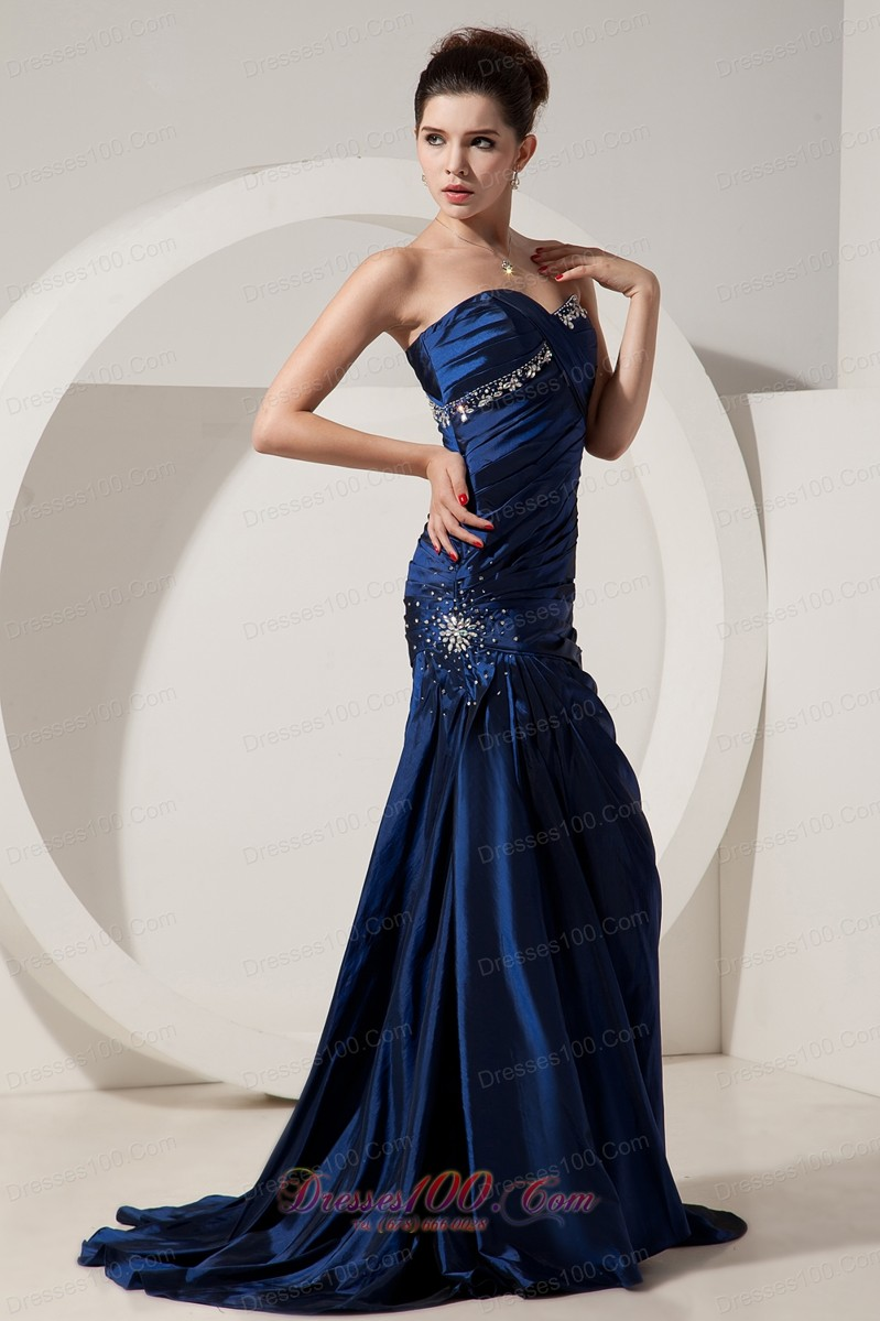 Blue prom dress with straps 2017