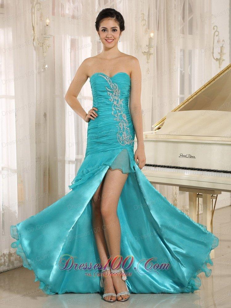 turquoise dama dresses ruffled layers high slit us13754