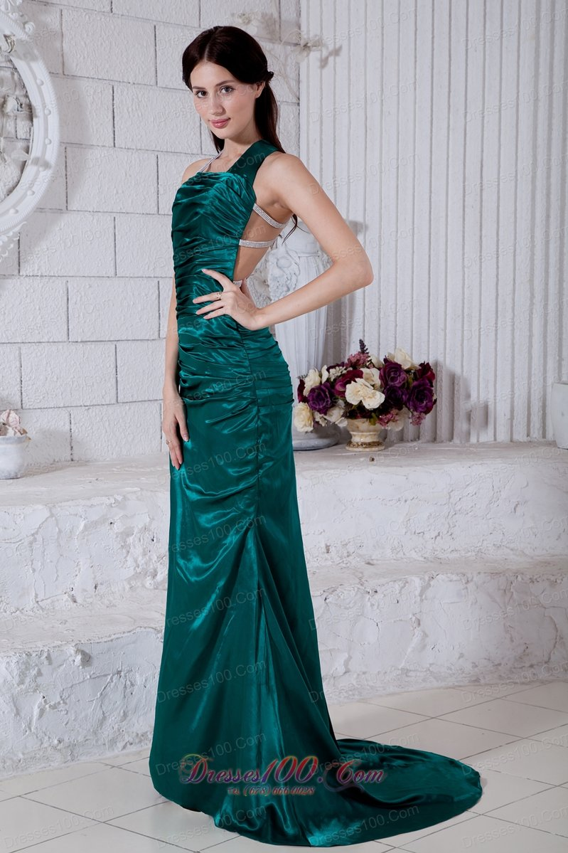 Brush taffeta evening dress teal straps open back us for Wedding dresses minot nd