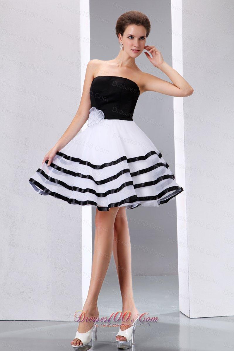 Black and white beach bridal graduation dress knee length for Black and white beach wedding dresses