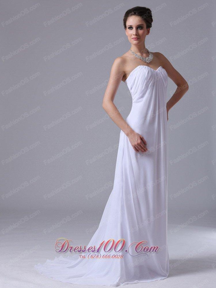 Custom Empire Beach Chiffon Sweetheart Wedding Maxi Gown