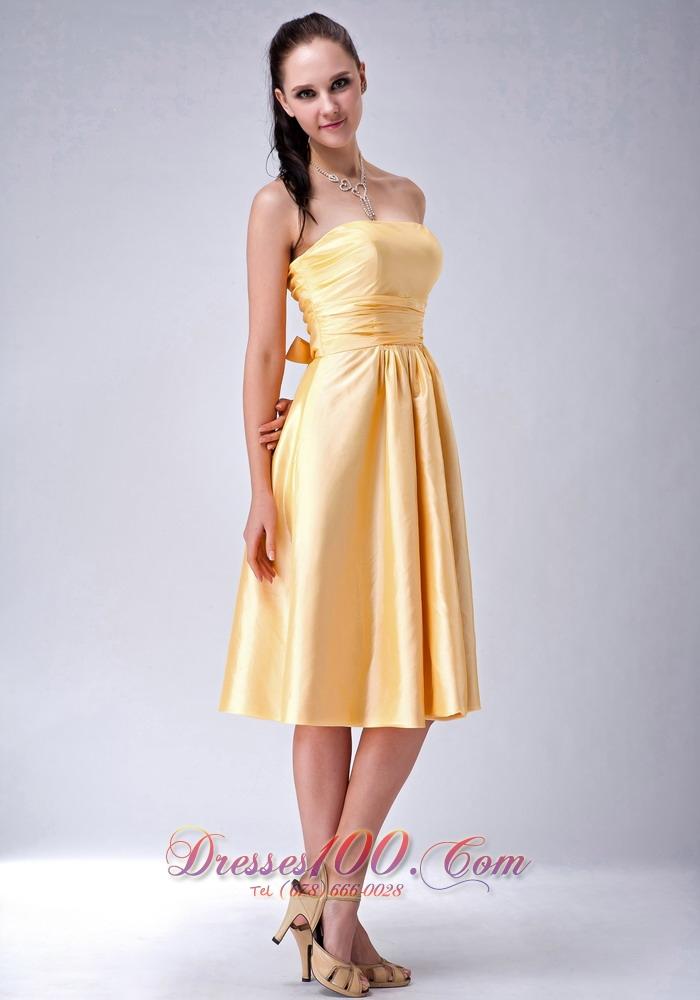 Satin Gold Strapless Tea Length Bridesmaid Dama Dress Us