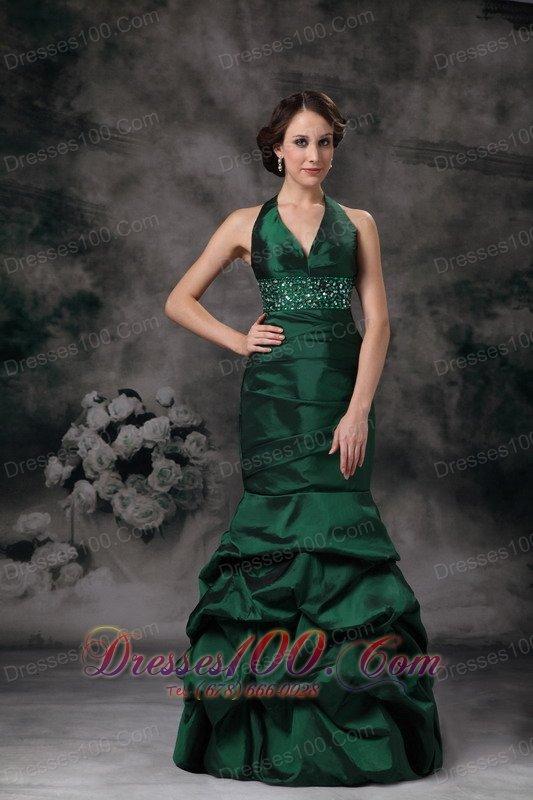 Dark Green Mermaid Halter Prom Evening Dress Beaded - US ...